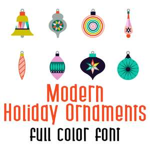 modern holidays ornaments full color font