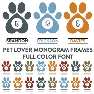 pet lover monogram frames font