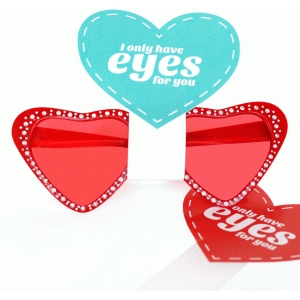 valentine card - glasses