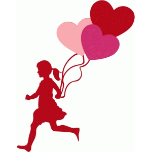 girl with heart balloons silhouette