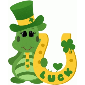 st patricks dragon holding horseshoe
