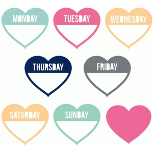 days of the week heart labels