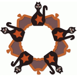 cats & pumpkins hollow centers wreath