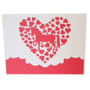 unicorn hearts card