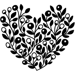 botanical floral heart