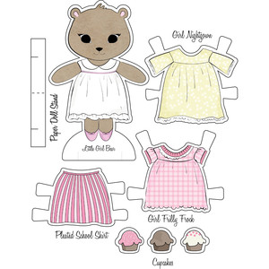 little friends paper set-cute girl bear