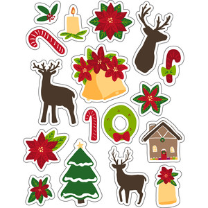 ml christmas deer and bells stickers