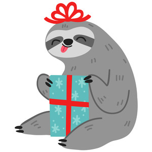 christmas sloth with present
