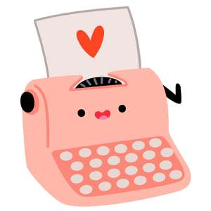 kawaii valentine typewriter
