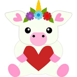 little unicorn and heart