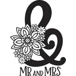 mr and mrs floral ampersand