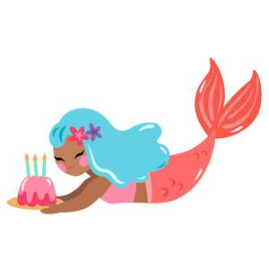 mermaid with birthday cake