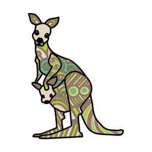 kangaroo multi layer mandala animal