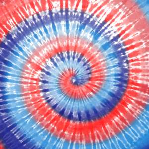 red, white, and blue spiral tie-dye
