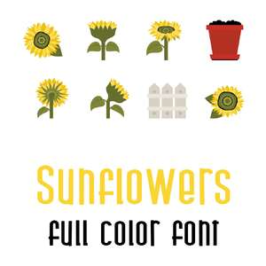 sunflowers full color font