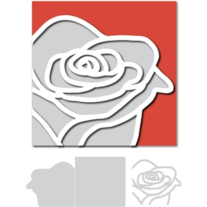 outline rose card