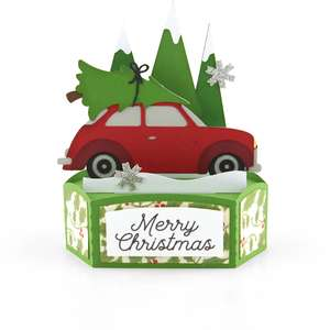 hexagon pop up card christmas car