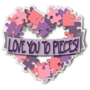 card heart wreath puzzle pieces