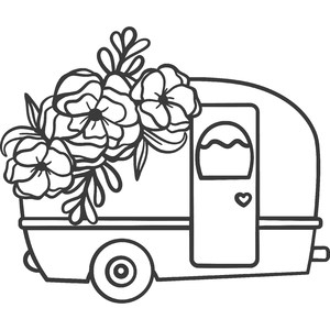 camper with flowers