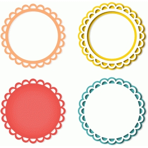 4 cutout scalloped circles frames
