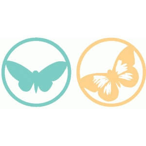 set of 2 round butterfly icons