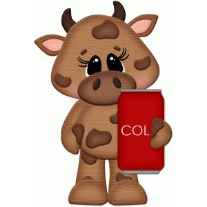 cow holding pop can cola pnc