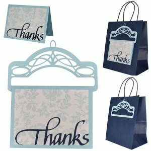 gift bag hanger with thanks card
