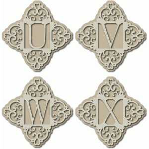 ornate monogram uvwx