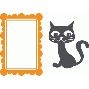 halloween frame and cat