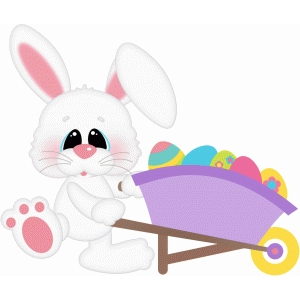 easter bunny w wheelbarrow