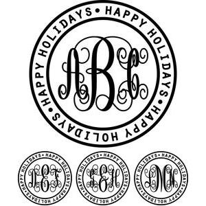 monogram elaborate script - happy holidays ring