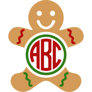 gingerbread man monogram
