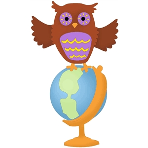 wise owl with globe