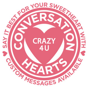 valentine circle label - conversation hearts