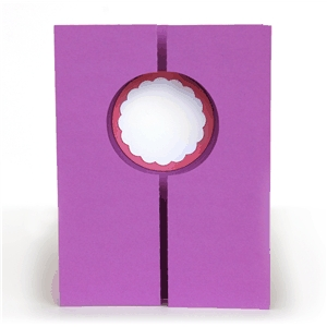 3d double gate fold window card - circle