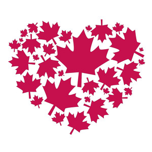 canadian maple leaf heart