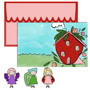 paper doll scene set - strawberry house