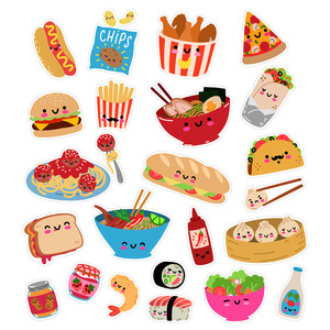 kawaii lunch and dinner food sticker set
