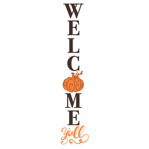 welcome y'all pumpkin porch sign