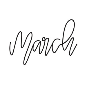 hand lettered month - march