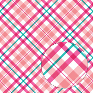 pink & aqua blue plaid seamless pattern