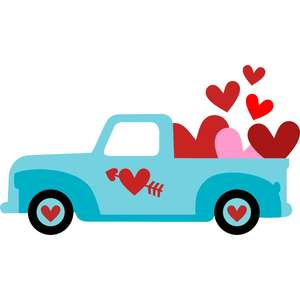 truck and love hearts