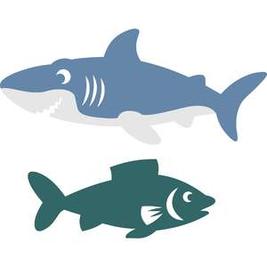 set shark and fish