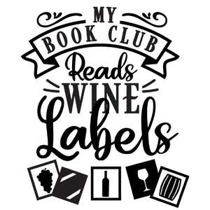 book club reads wine labels