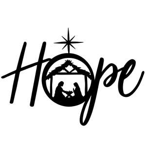 hope christmas design with nativity scene