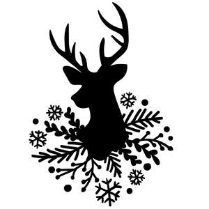 deer with snowflakes and fir