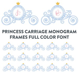 princess carriage monogram frames full color font