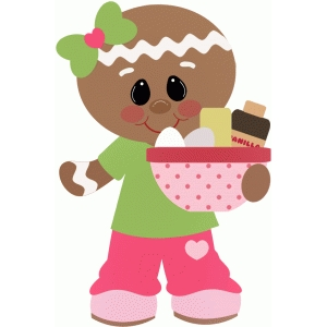 gingerbread girl holding ingredients