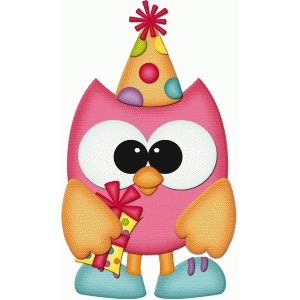 birthday owl holding gift pnc