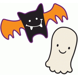 cute bat and ghost